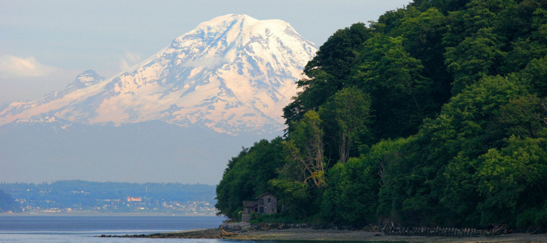View of mountain and forest from Vashon Island in Seattle, WA